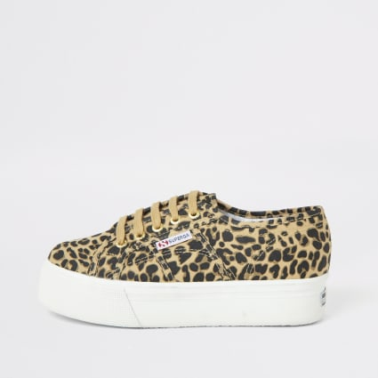 Superga beige leopard print platform trainers
