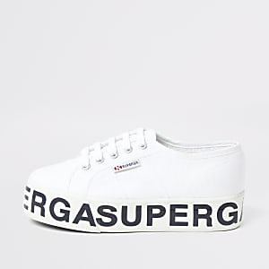 Superga white platform runner trainers