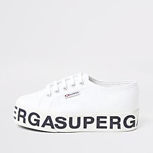 Superga – Weiße Sneaker mit Plateauabsatz