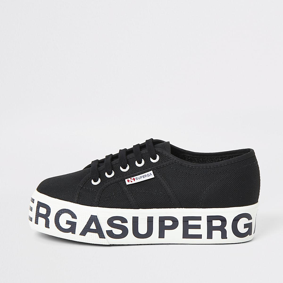 Superga black printed platform trainers
