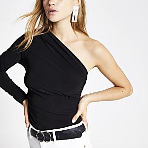 Black one shoulder bodysuit