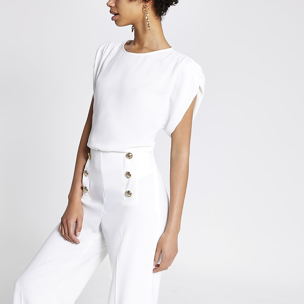 White ruched sleeve top