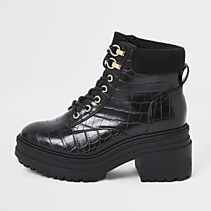 Black croc lace-up chunky boots