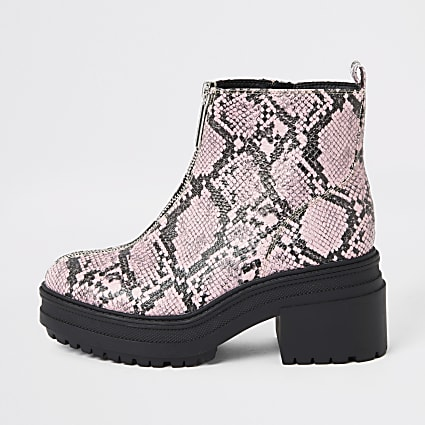 Pink snake print zip front chunky boots