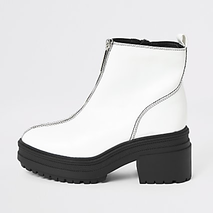White chunky zip front ankle boots