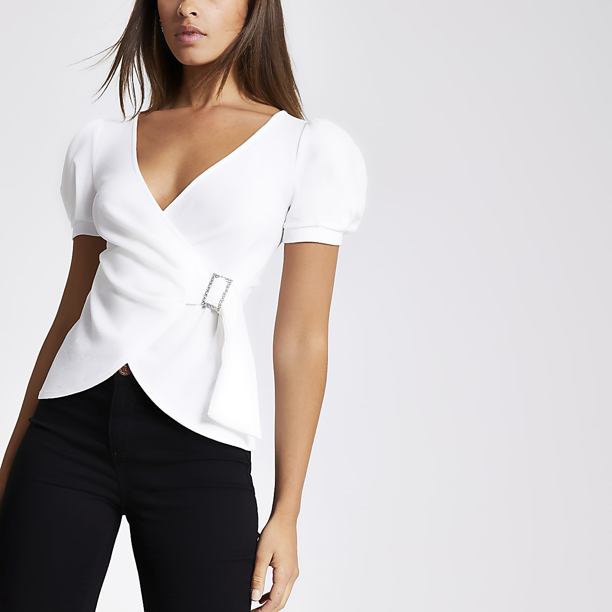 White puff sleeve wrap top