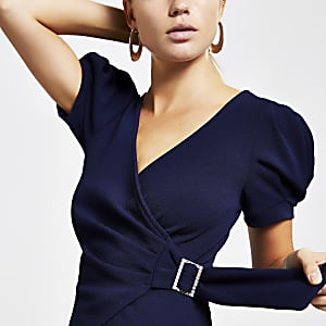 Navy puff sleeve wrap top
