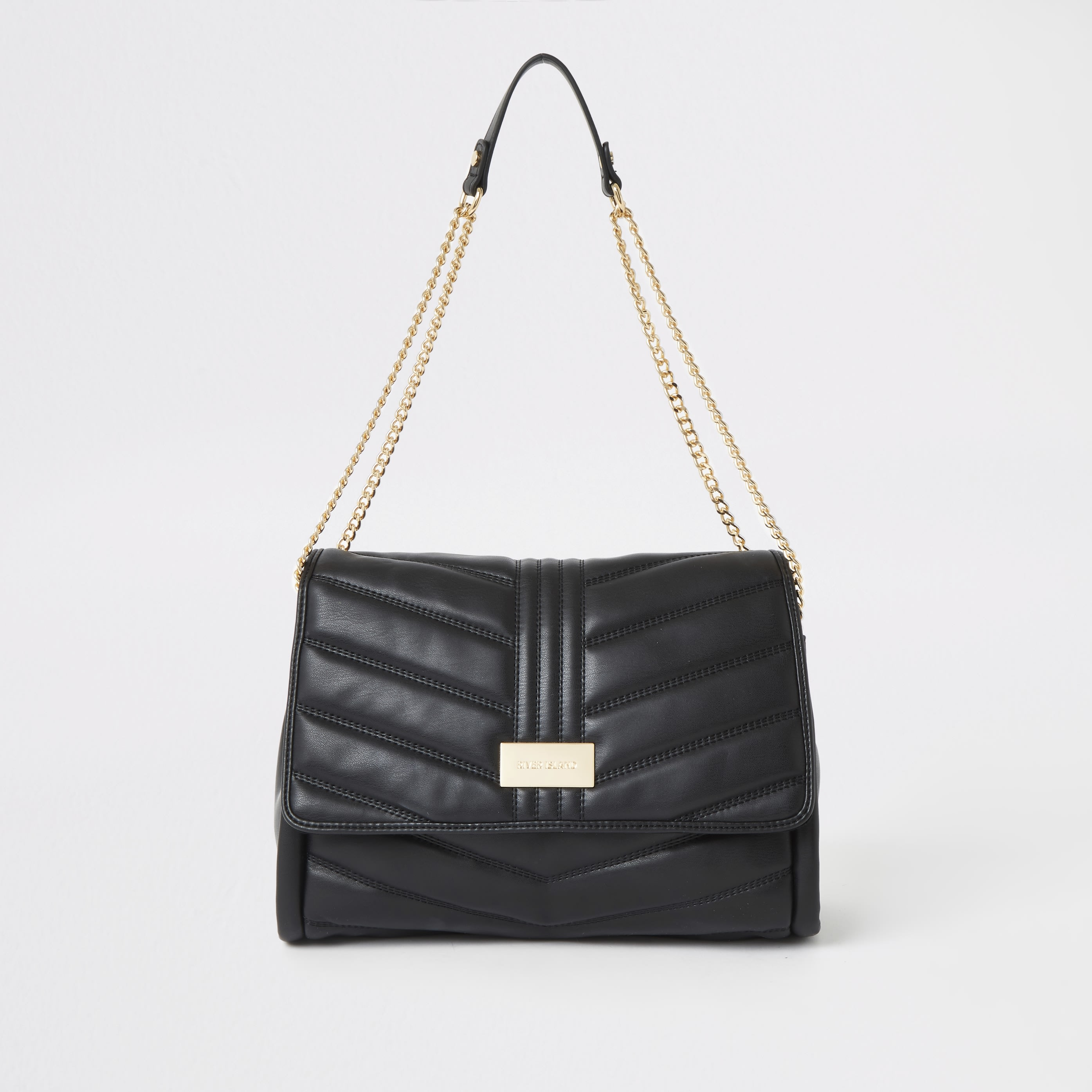 RIVER ISLAND | Womens Black Quilted Underarm Bag | Goxip