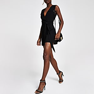 Black wrap utility playsuit