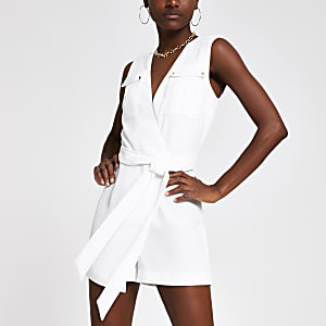 White wrap utility playsuit