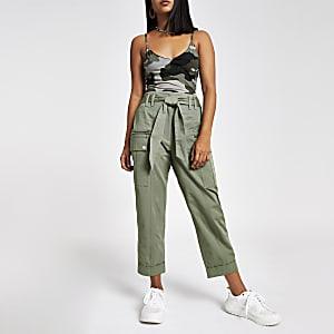 Petite khaki utility peg trousers