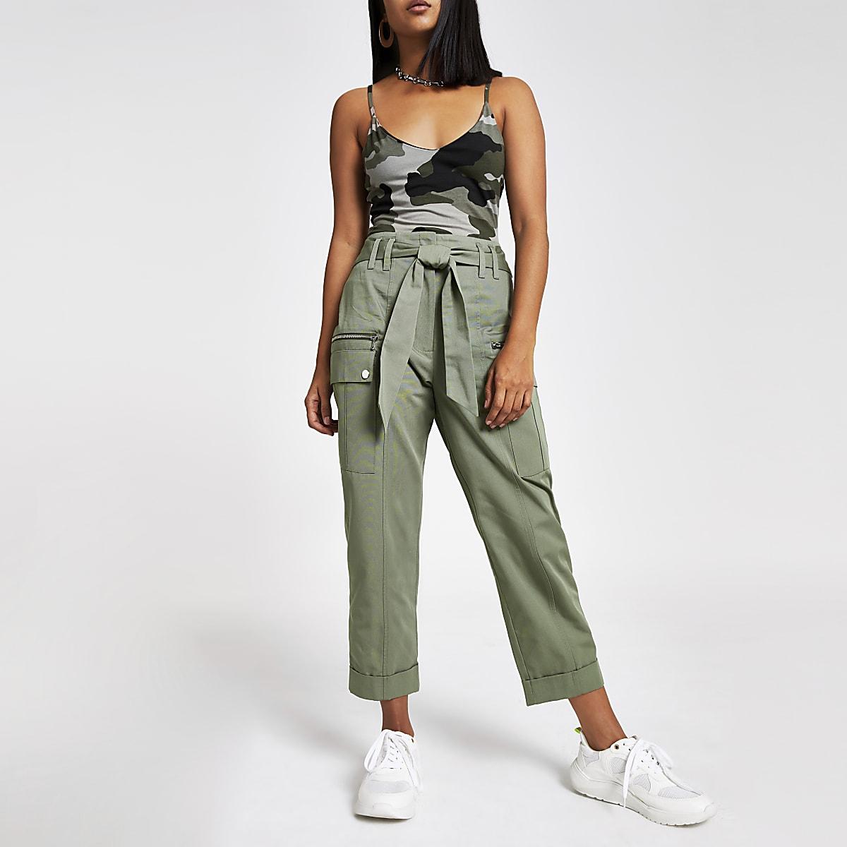 Petite khaki utility peg pants