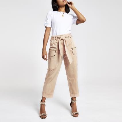 Petite pink utility peg leg trousers