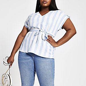 Plus blue stripe tie waist top