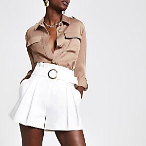 White pleated utility shorts