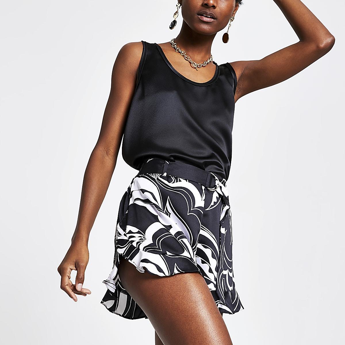 Black print belted shorts