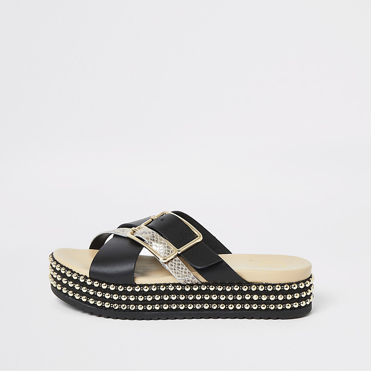 Black buckle beaded flatform sandals