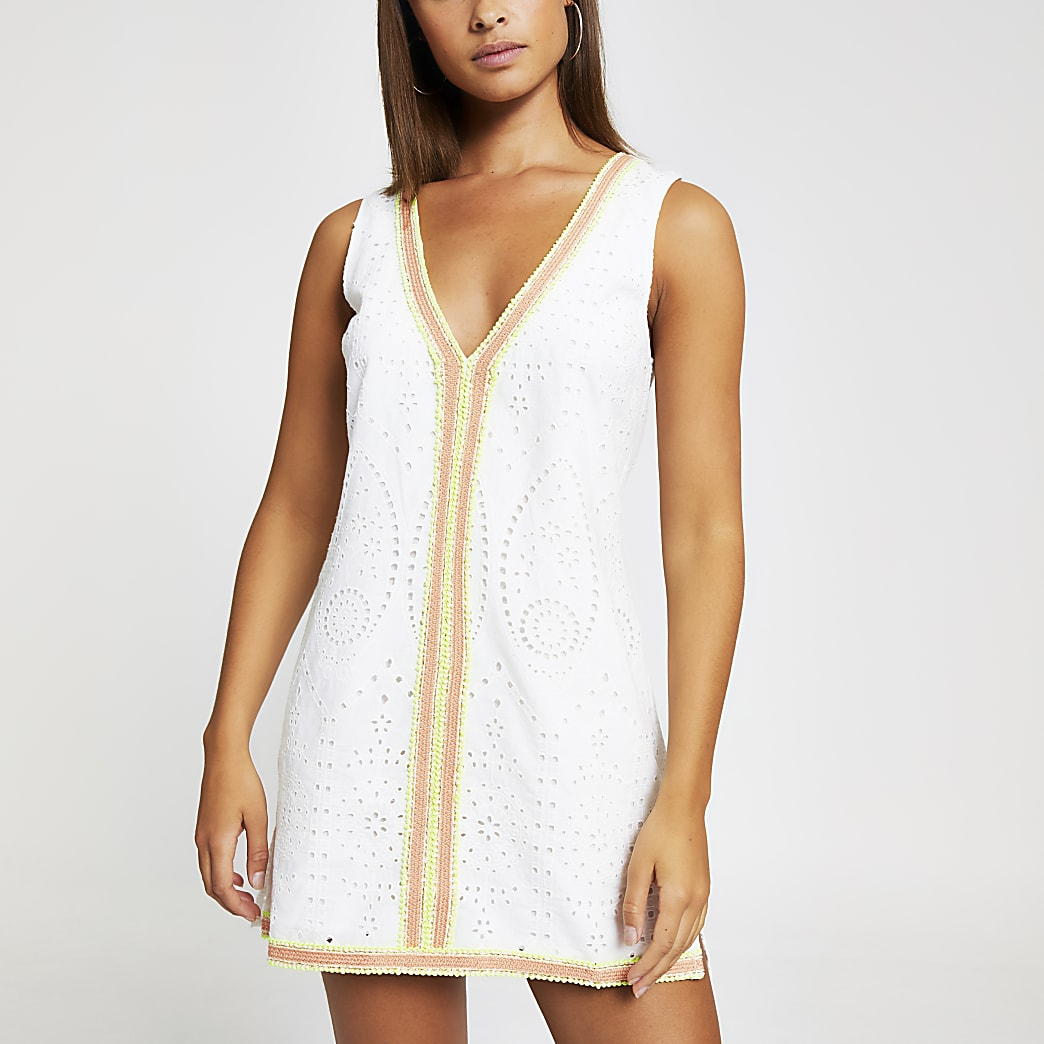 White broderie tassel beach dress