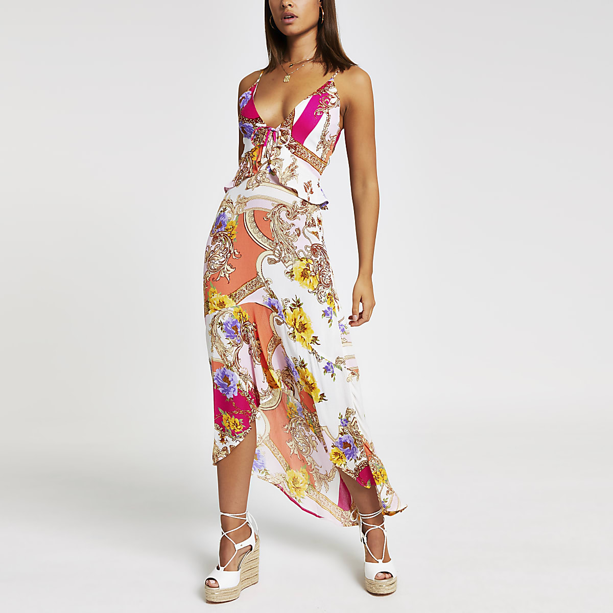 Pink scarf print maxi beach dress
