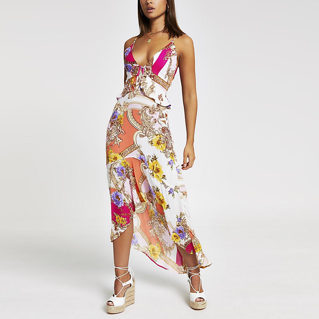 Pink scarf print maxi beach dress