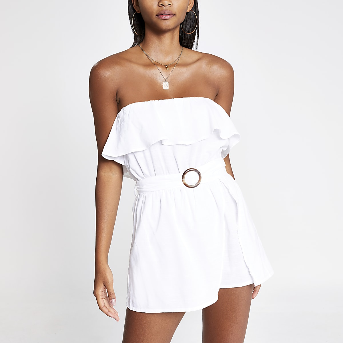 Cream belted bandeau beach playsuit