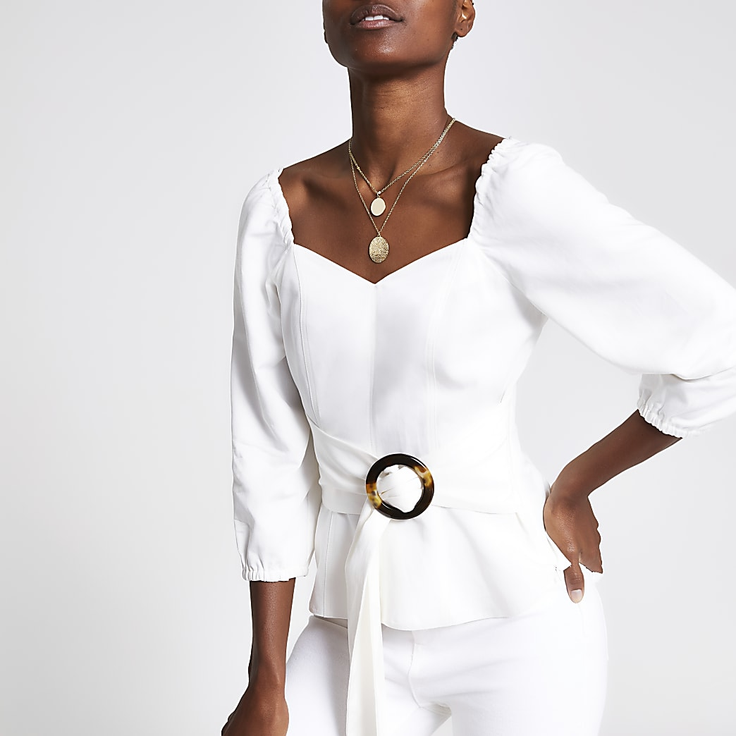 White belted waist tea top