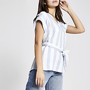 Blue stripe tie waist T-shirt