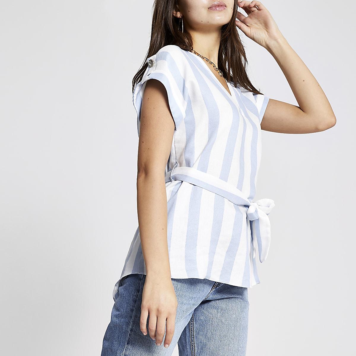 Blue stripe tie waist T-shirt