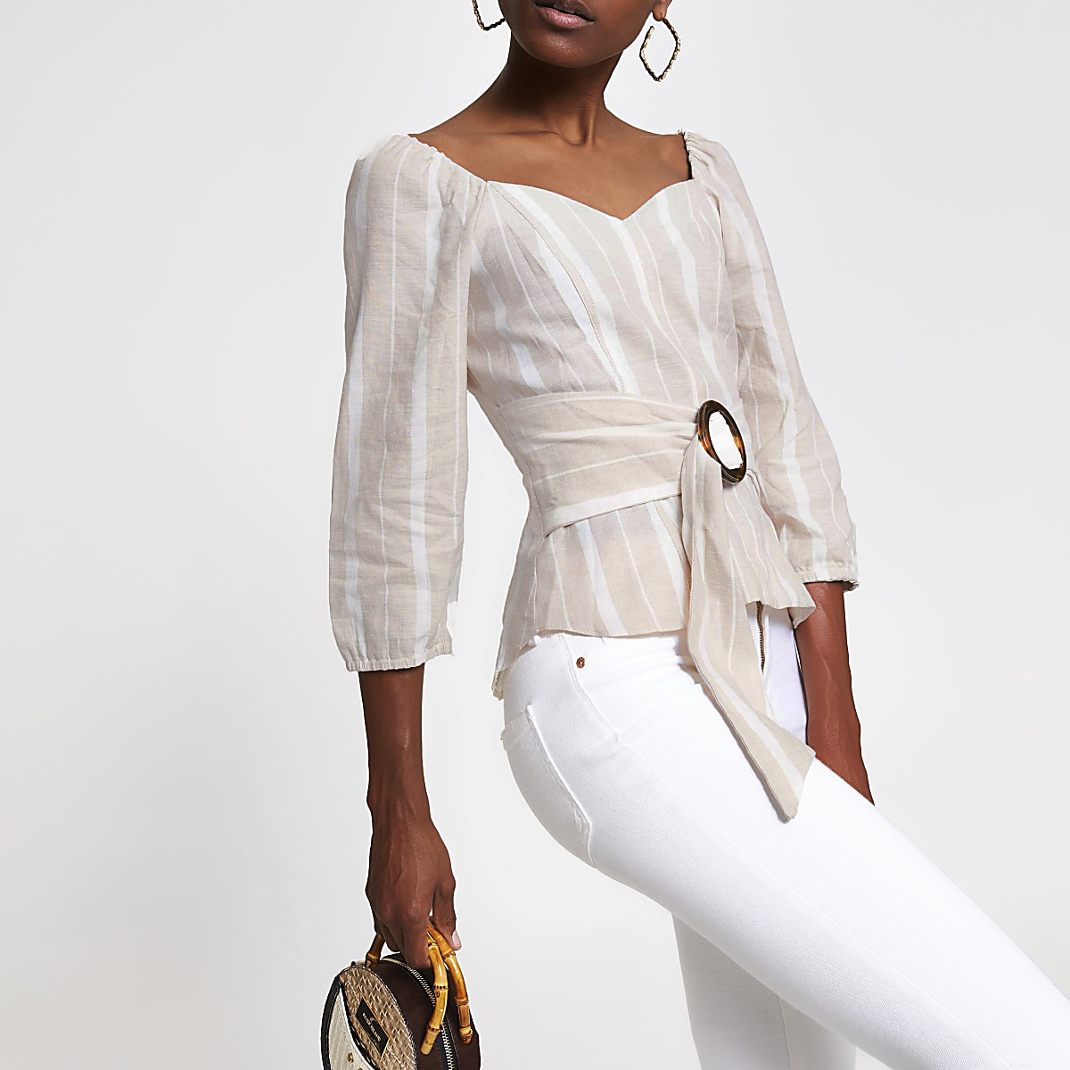 Beige stripe belted top