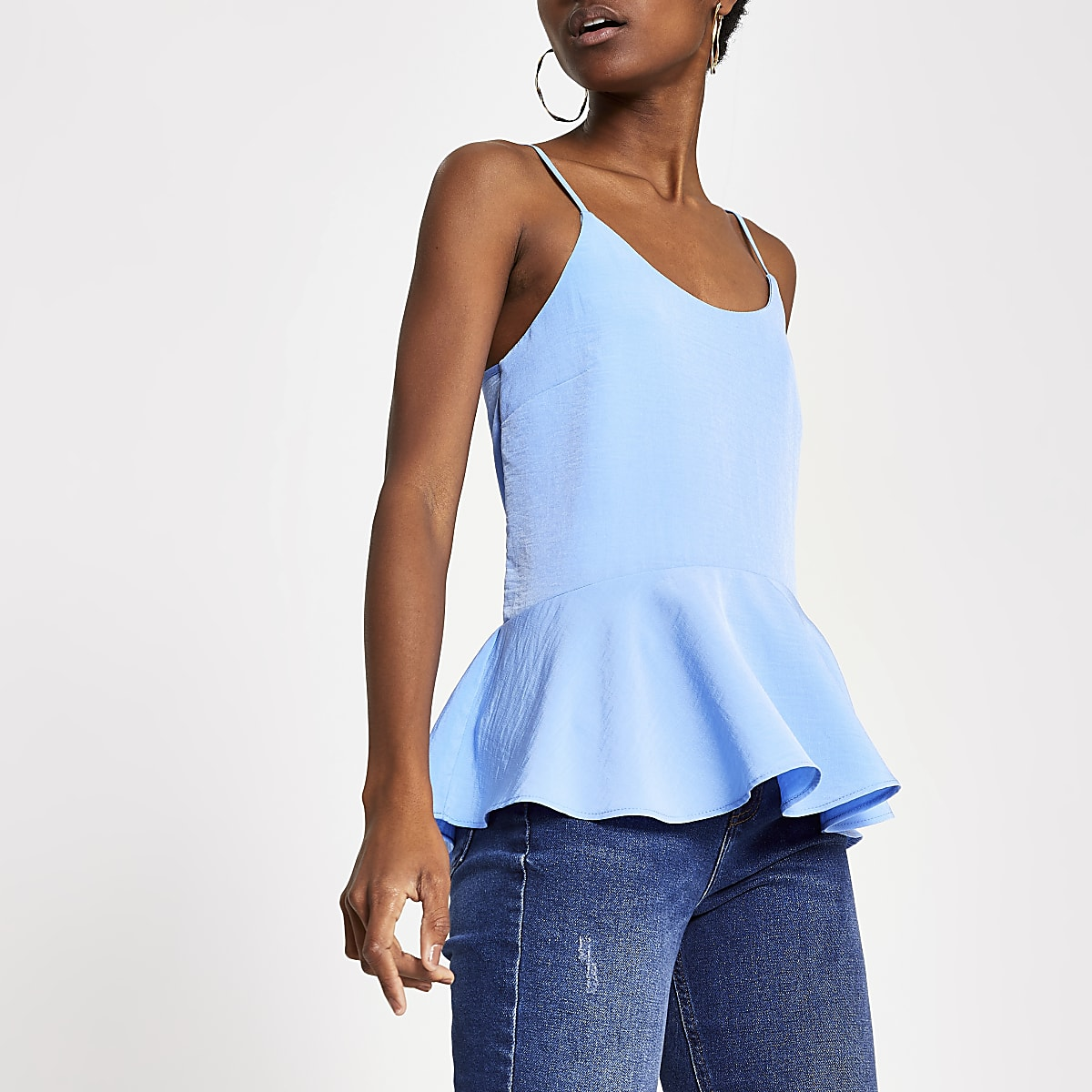 Blue peplum cami top