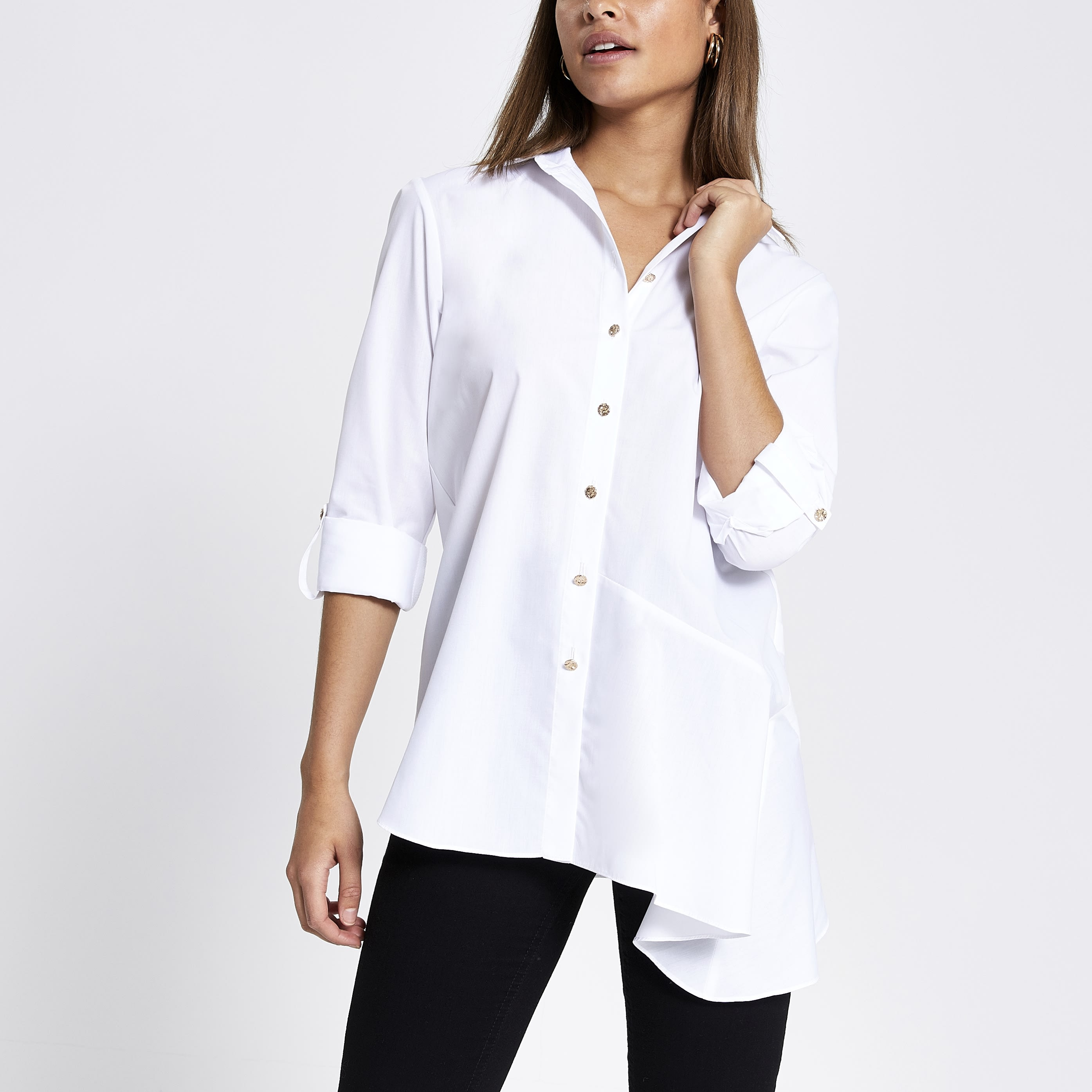RIVER ISLAND | Womens White asymmetric long sleeve shirt | Goxip