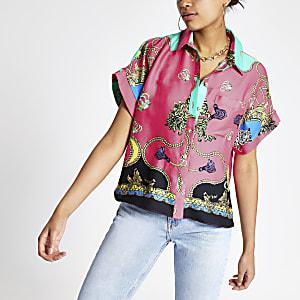 Pink chain print shirt