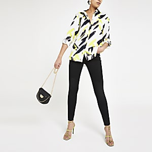 Yellow print roll sleeve shirt