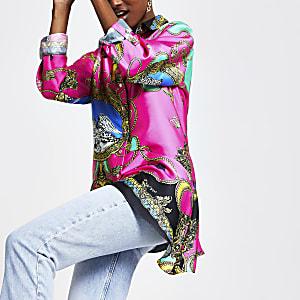 Pinkes, asymmetrisches Hemd mit Kettenprint