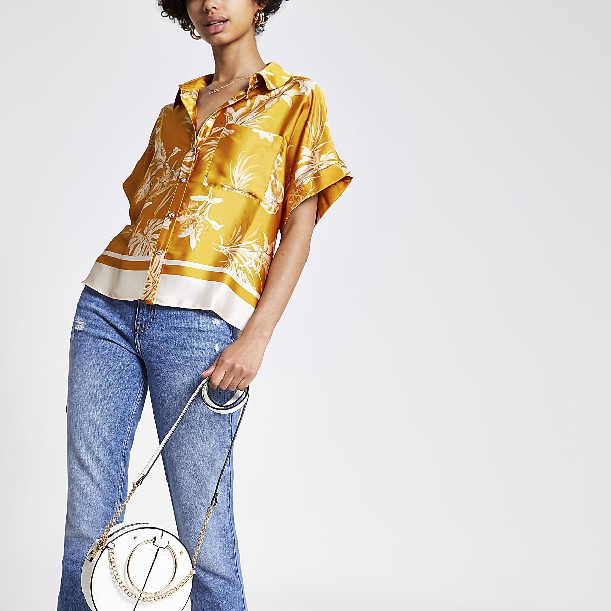 Geel overhemd met bloemenprint en korte mouwen