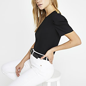 Black puff sleeve T-shirt
