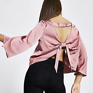 Pinke Bluse mit Schleife