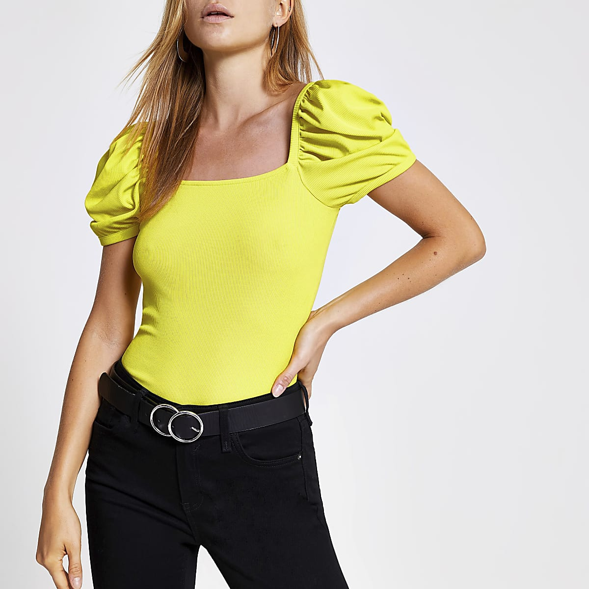 Lime ribbed puff sleeve top