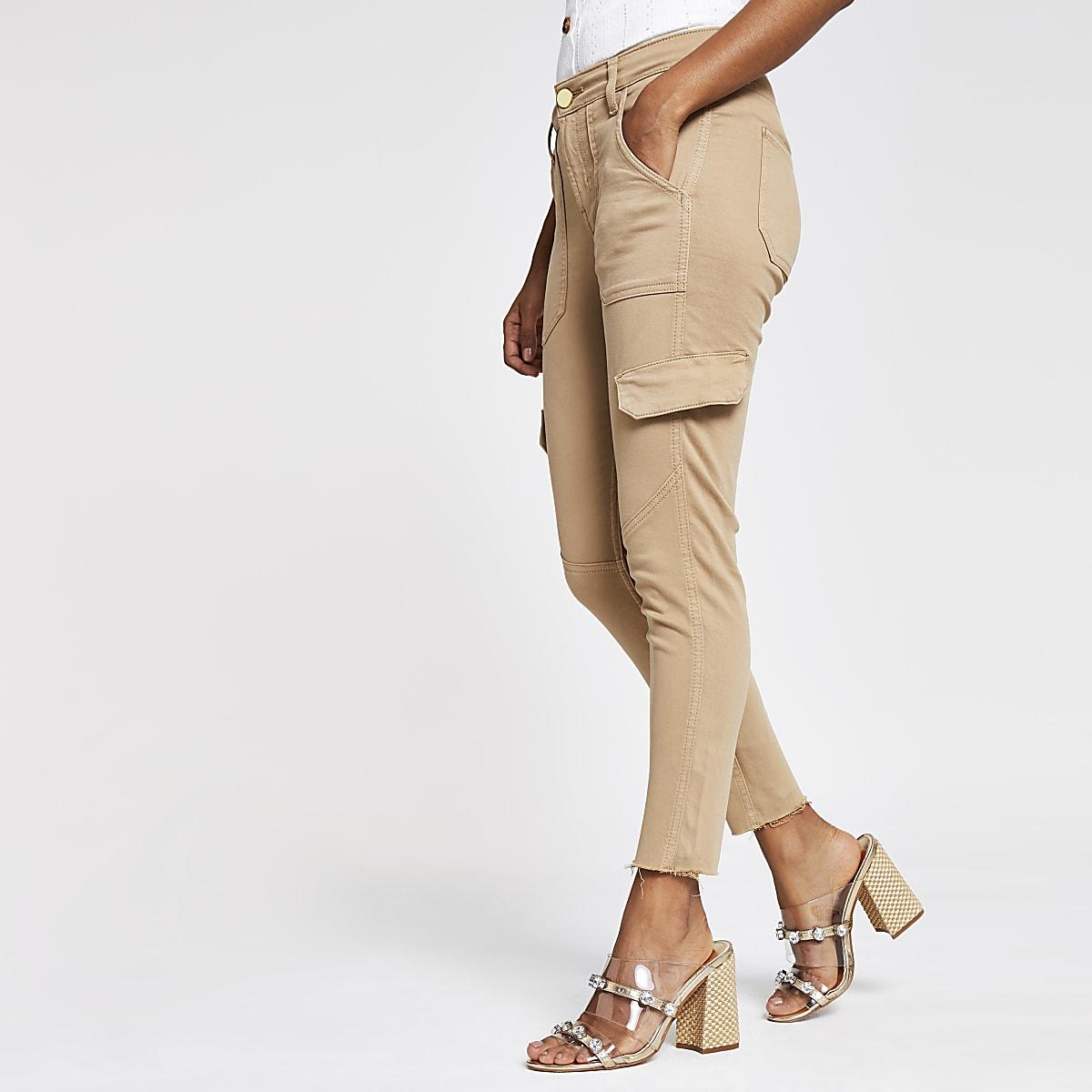 Petite beige Amelie utility jeans