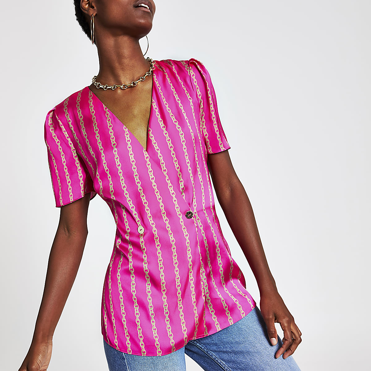 Pink chain print blouse