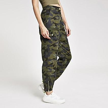 Khaki camo print utility trousers