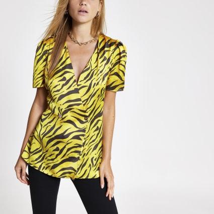 Yellow zebra print blouse