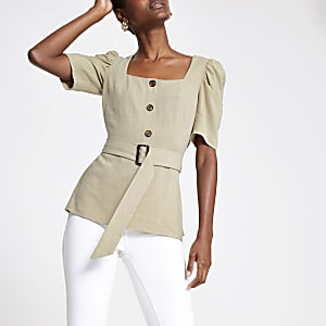 Cream square neck top