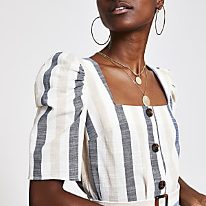 Cream stripe square neck top