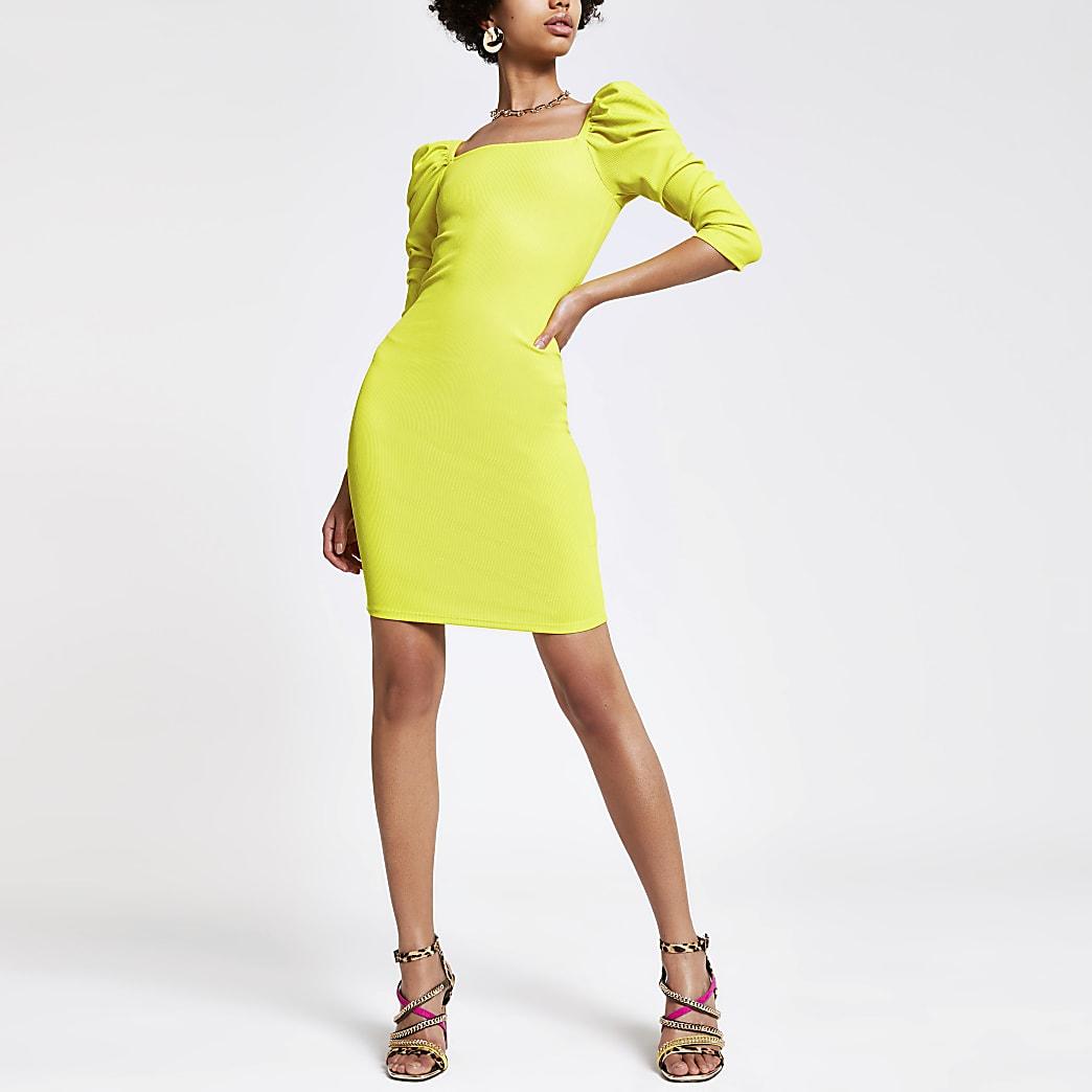 Lime puff sleeve bodycon dress