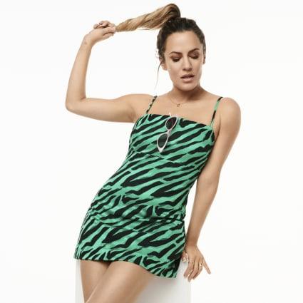 Caroline Flack green jacquard mini dress