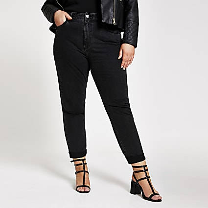 Plus black ripped Mom jeans