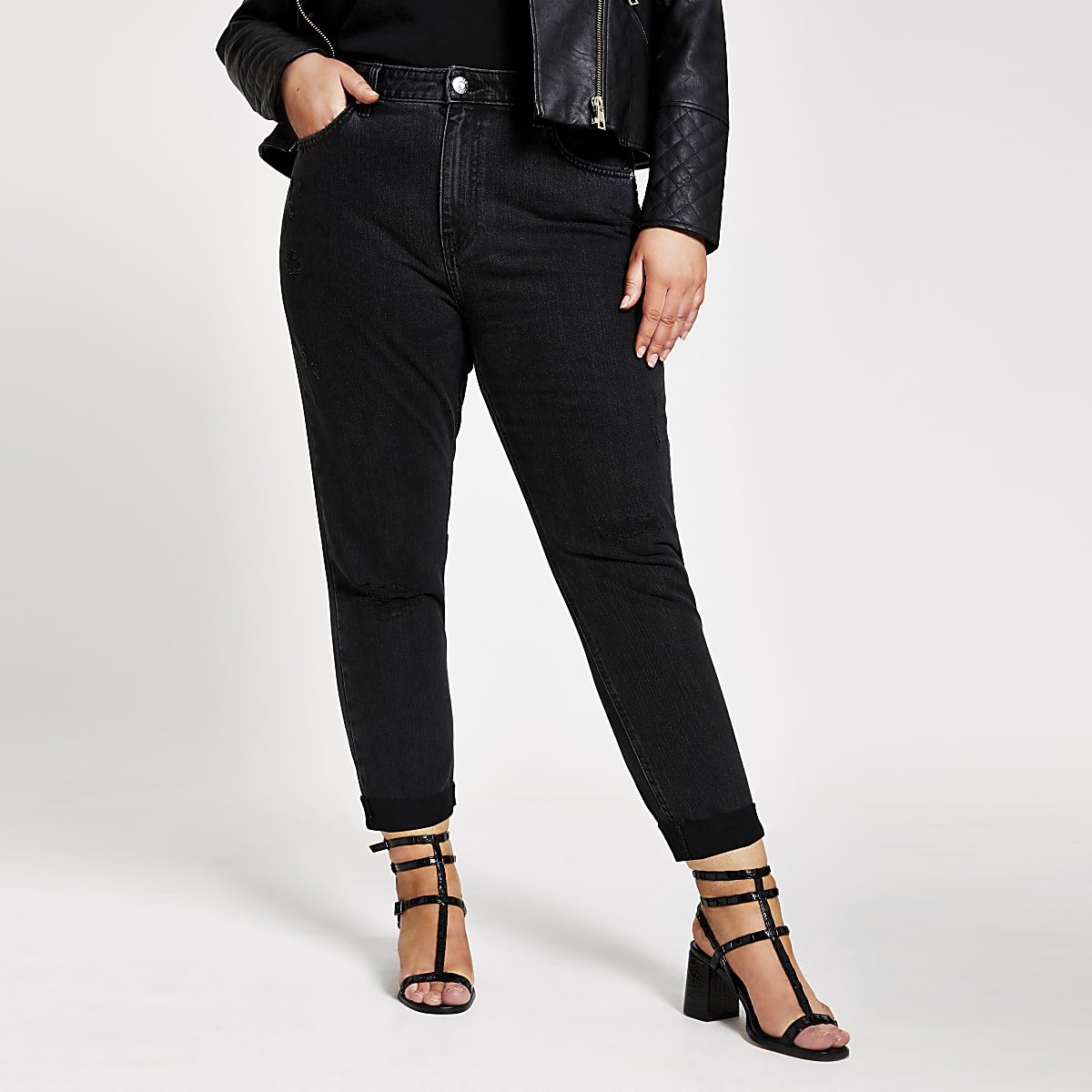 RI Plus - Zwarte geribbelde mom jeans