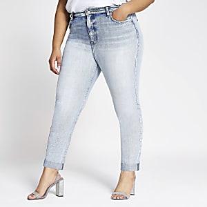 Plus – Hellblaue Mom-Jeans mit hohem Bund