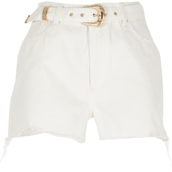 River Island - flack – shorts mit hohem bund und gürtel - 5